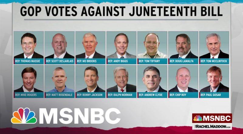 Juneteenth Federal Holiday Bill Heads To Biden's Desk; 14 Republicans Vote No 1