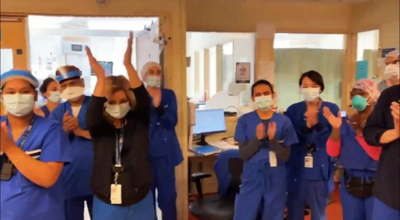 Toronto hospital workers celebrate having no COVID-19 patients 1