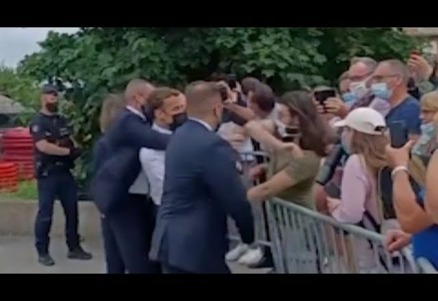 Watch French President Macron get slapped across the face while in southern France 5