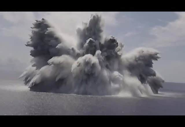 US Navy tests combat capabilities of new aircraft carrier | Watch 40,000-lb explosive explode 1