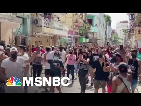 Largest Protests In Decades Erupt In Cuba   MSNBC 1