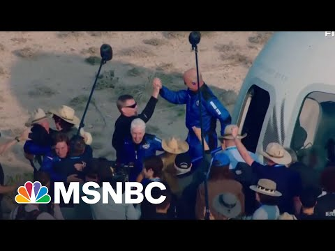 Jeff Bezos And Crew Emerge From Blue Origin Capsule After Flight 1