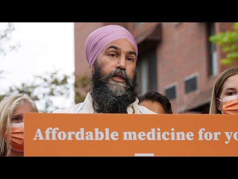 NDP Leader Singh pledges universal pharmacare plan 1