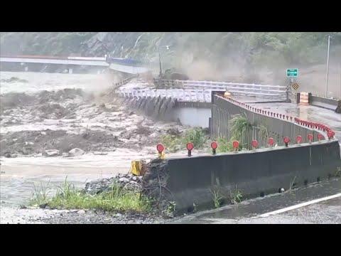 Taiwan bridge destroyed by floods 1