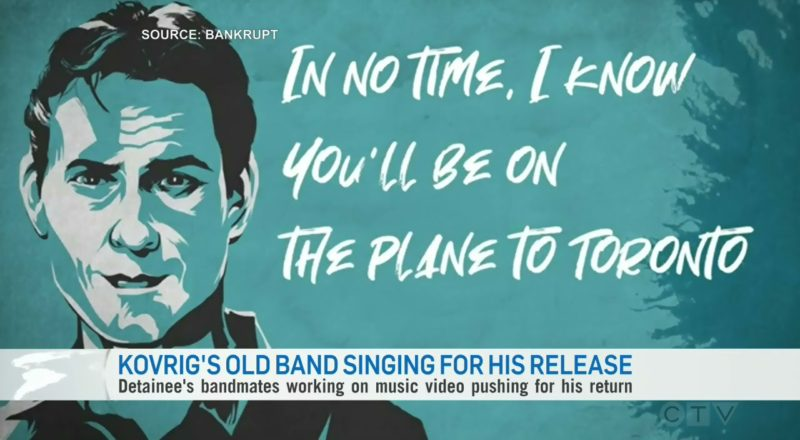 Michael Kovrig's old band is singing for his release 1