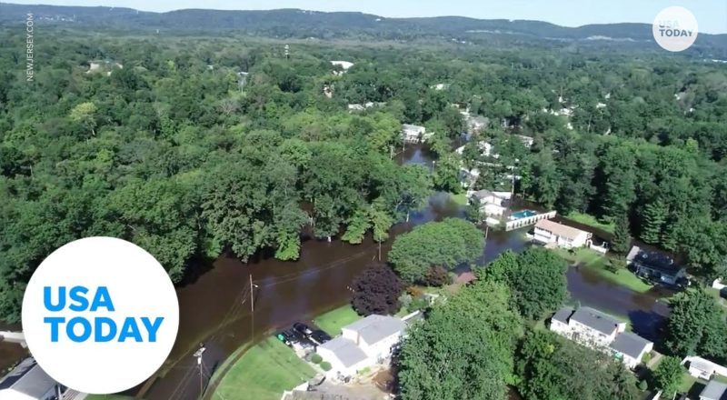 Drone flies over flooded New Jersey neighborhood   USA TODAY 1