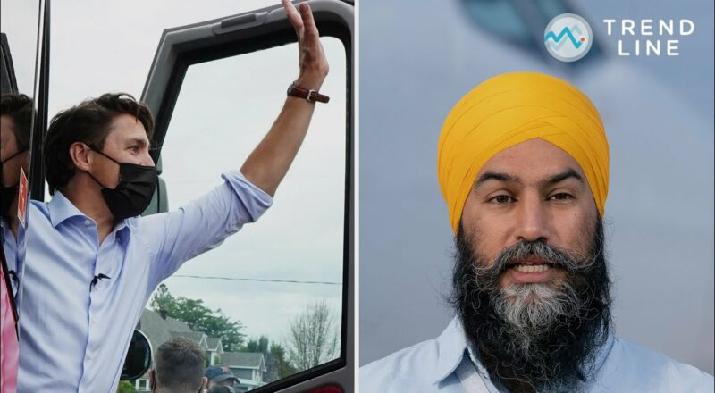 Dropping support NDP supporters may indicate voters swinging to Trudeau: Nanos   TREND LINE 1