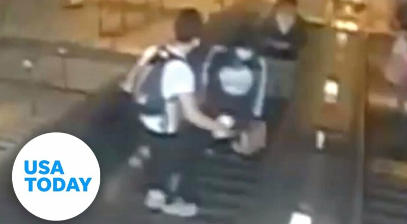 NYPD looking for man caught on video kicking a woman down an escalator | USA TODAY 1