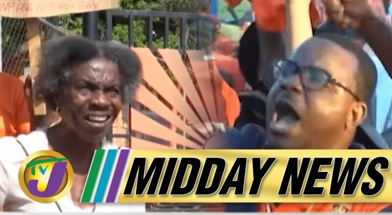 Protest at PNP Headquarters in Kingston Jamaica   JLP & PNP Reactions to Polls   TVJ Midday News 1